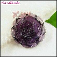 Mode obsidienne naturelle vert Aventurine Rose Quartz améthyste pendentif blasé fleur pendentif Figurine chance bijoux cadeau