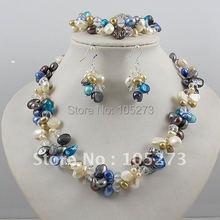 Großhandel! Perlenschmuck Set 2 Rows AA 4-10 MM Multicolor Perle & White Kristall Halskette Armband Ohrring strass Magnetverschluss