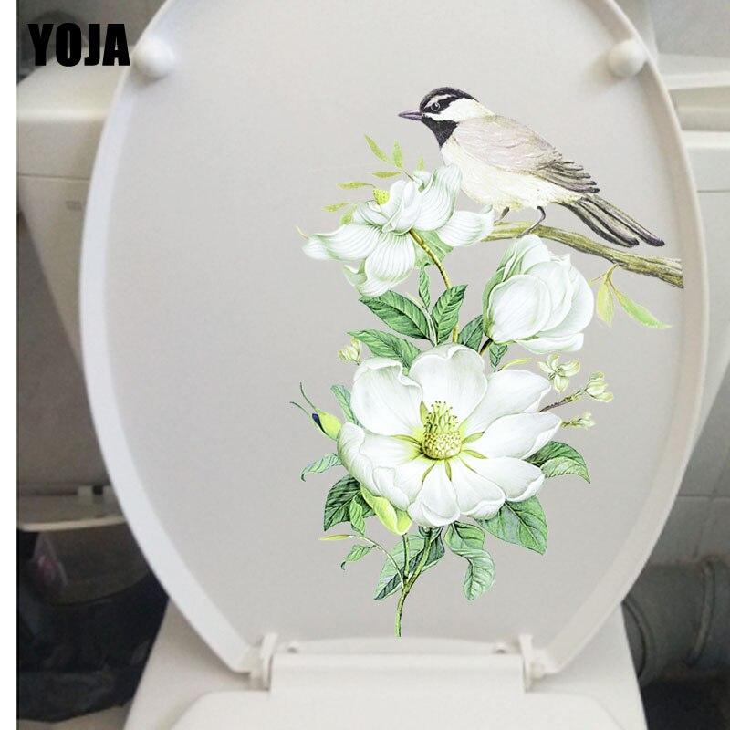 YOJA 17.5X23.4CM современное искусство гостиной домашний декор Настенная Наклейка для туалета птицы на цветочных ветках T3-1170
