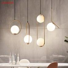 Amerikanischen Glas Ball Anhänger Lichter Metall Hoop Hängen Lampe für Schlafzimmer Cafe Restaurant Bar Innen Beleuchtung Dekoration Leuchte