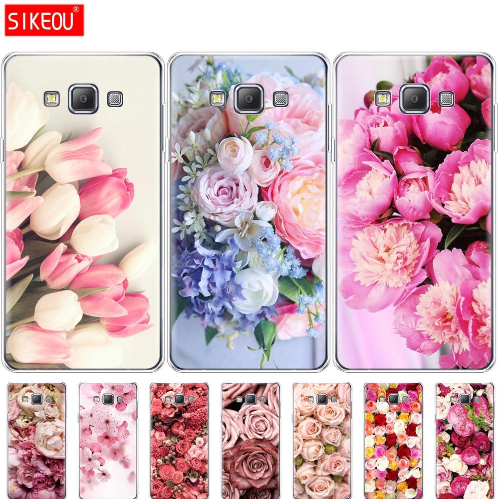 Funda de silicona para Samsung Galaxy A3 A5 A7 2015, 2016 de 2017 A500 A510 A520 A300 A310 A320 A700 A710 A720 colorida Flor de peonía rosa