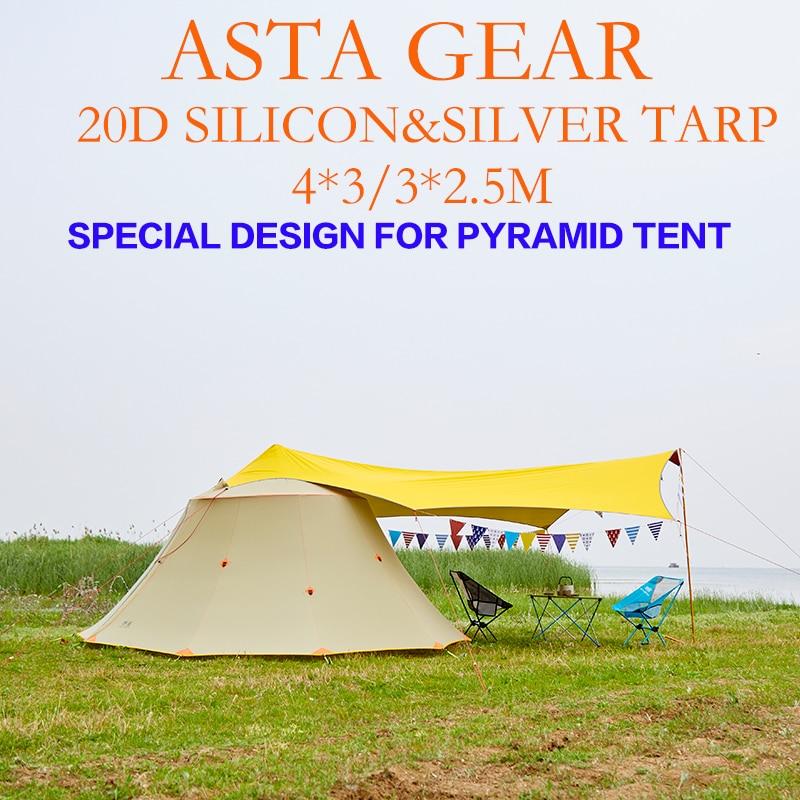 ASTA GEAR 4*3 anti-sol 20D silicona con revestimiento de plata al aire libre grande ul ultraligero Lona de acampada refugio
