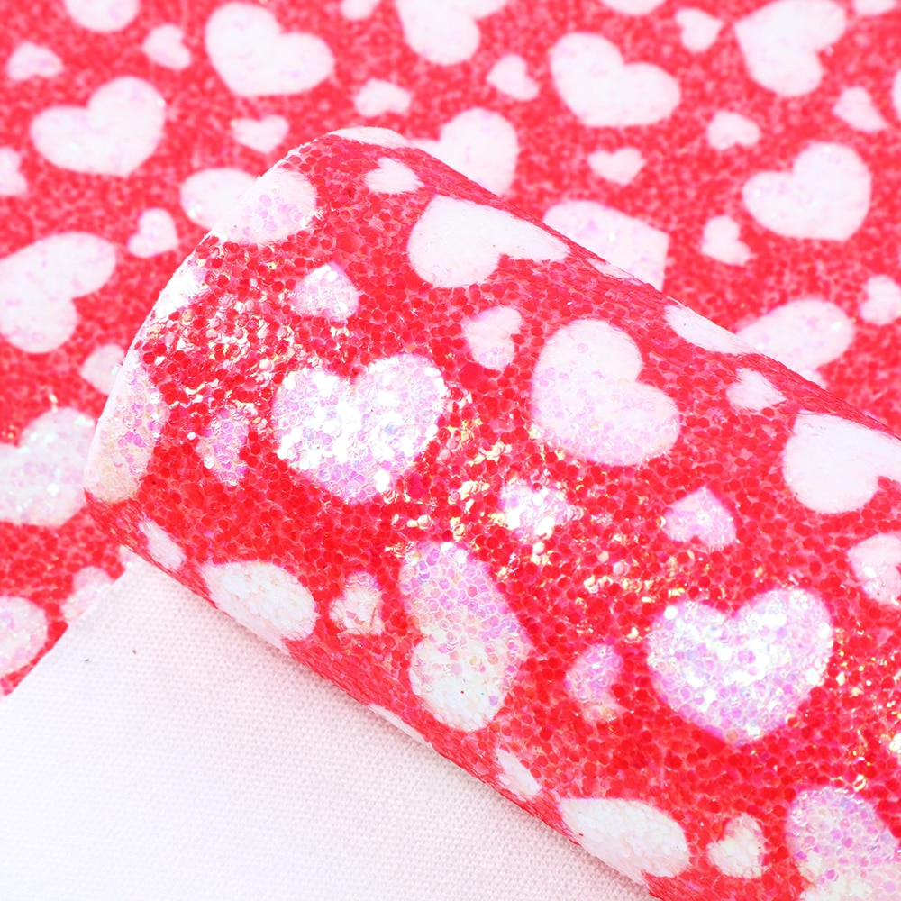 David accessories 20*33cm glitter heart faux artificial Synthetic leather fabric hair bow diy decoration crafts 1piece,1Yc5641