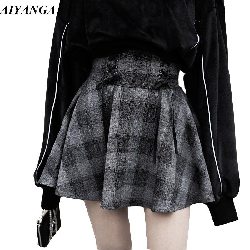 Preppy Style femmes mode jupes automne Plaid jupe femme taille haute à lacets Mini jupe pour filles a-ligne jupe hiver 2019