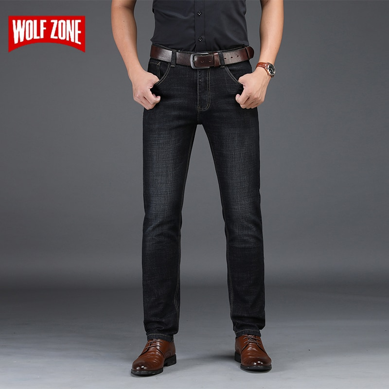 Мужские джинсы стрейч, черные облегающие джинсы от знаменитого бренда, модные деловые брюки, большие размеры 28-42