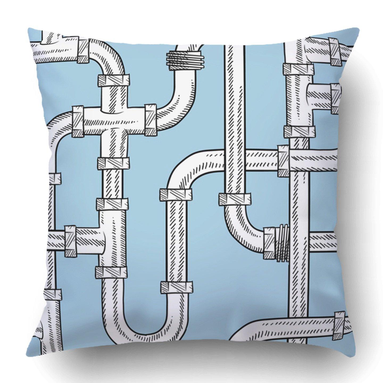 Fundas de almohada fontanero Estilo garabato tubería de agua boceto azulejos dibujo manitas CASA DE REPARACIÓN cremallera oculta funda de almohada