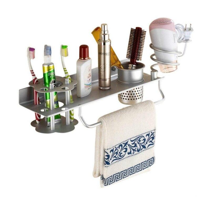Soporte de secador de pelo para baño, secador de pelo, soporte de peine, estantería organizador, soporte colgante con soporte para cepillo de dientes