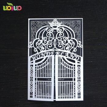 10 наборов лазерная резка ворота новый дизайн арабский свадебные пригласительные открытки с внутренней бумагой и обволакивает бесплатный л...