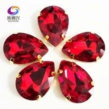 Fond doré rouge forme DR AAA   Cristal de verre cousu sur des griffes avec trous, accessoires bricolage/vêtements SWSG06