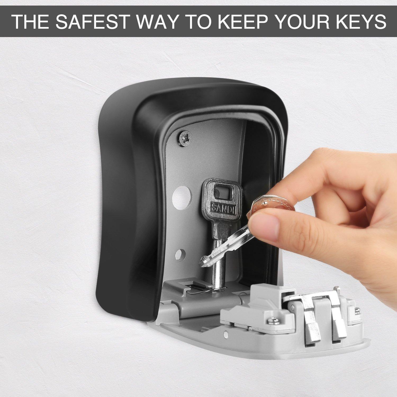 Caja de bloqueo de llave DCOS montada en la pared caja de seguridad de aleación de aluminio a prueba de intemperie 4 dígitos combinación caja de bloqueo de almacenamiento de llave interior al aire libre