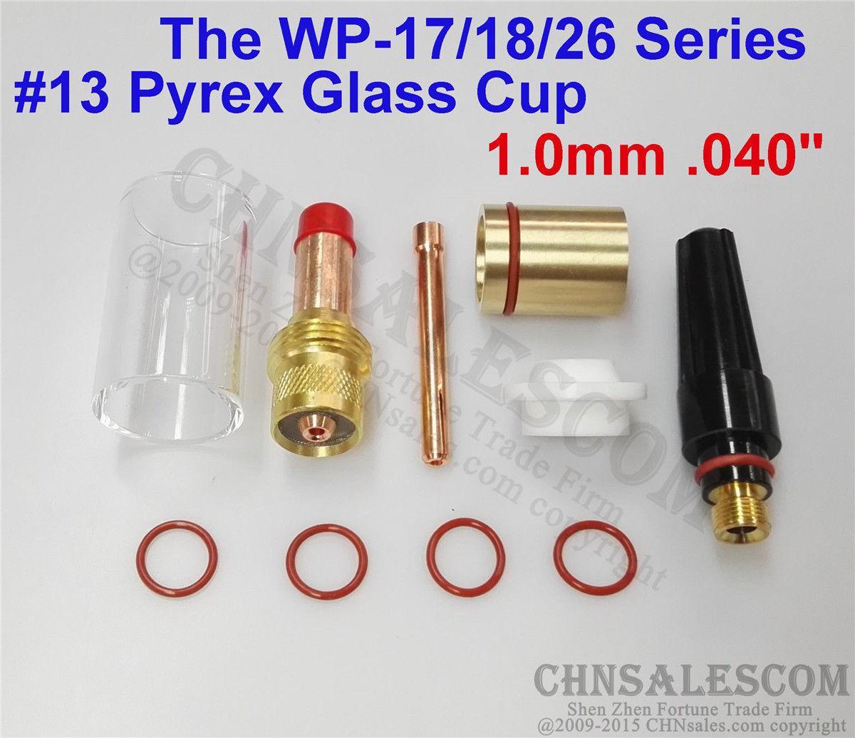 "CHNsalescom10 piezas de soldadura TIG 45V24 Gas lente #13 Pyrex taza Kit para Tig WP-17/18/26 040"""