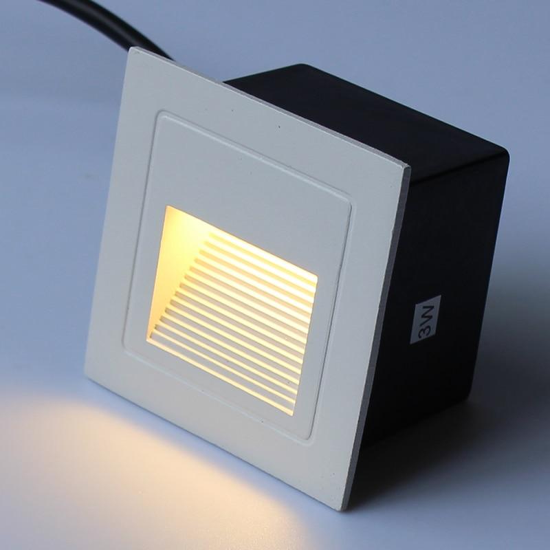 Impermeable led al aire libre fundición a presión de aluminio estribos tipo 86 empotrado al aire libre escalera pasillo lámpara de noche 3W 95*95MM