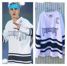 Justin Bieber Anzahl 6 hockey jersey ärmeln mit Zweck Tour worte stickerei weiß lose langen ärmeln