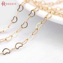 2 mètres de largeur 3.3MM 24K Champagne couleur or plaqué laiton forme de coeur collier chaînes haute qualité bijoux accessoires