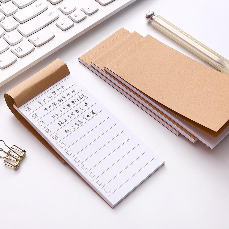 Nuevo bolsillo Kraft Nota de papel de bloc de notas papelería Scrapbooking Memo notas lista lágrima lista nota Pad