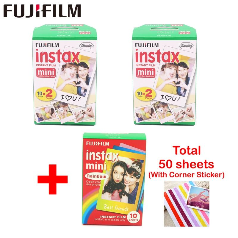 Fujifilm 40 листов с белым краем, ширина 3 дюйма, 10 шт. радужная бумага instax mini 8, пленка для мгновенной печати mini 7s 9 25 50s 90 камер