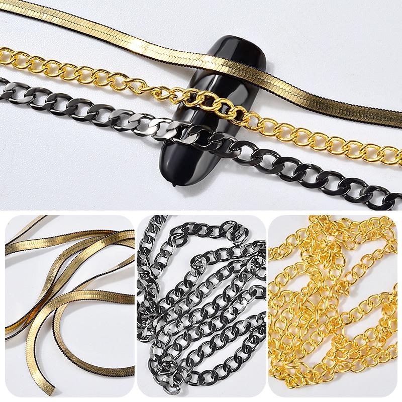 3 estilos Correntes de Ouro Preto Do Punk Cobra Ossos Projeto Decoração De Unhas de Metal Charme 3d Da Arte Do Prego DIY Acessórios Manicure ferramentas