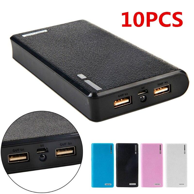 10 Uds banco de energía con USB Doble 6x18650 caja externa de cargador de batería de respaldo para teléfono venta al por mayor triangulación de envío