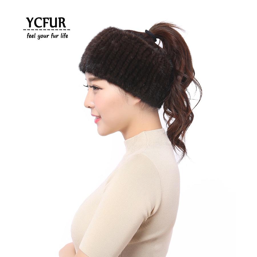 YCFUR Women Hairband Headband Winter Elastic Knit Genuine Mink Scarves for Women Neck Warmer Ring Scarf Female