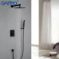GAPPO ברזי מקלחת חדר רחצה גשם רכוב קיר שחור הסתיר מיקסר מקלחת אמבטיה ברזים ברזים ברז אמבטיה ערכת מקלחת גשם