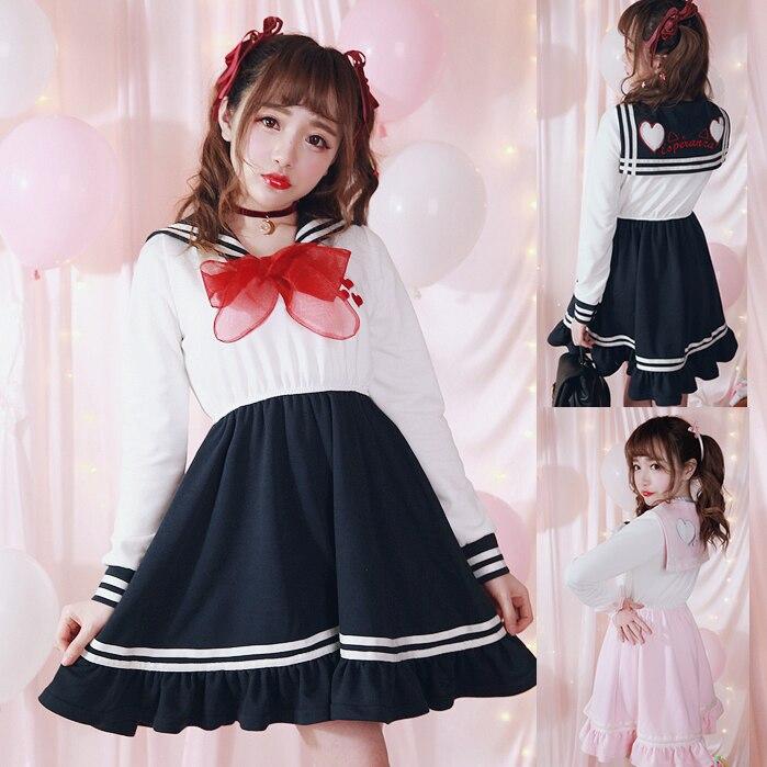 Princesa adorable Vestido de Lolita diseño exclusivo chica corazón a través de hilo de encaje vestido uniformes seaman D1342