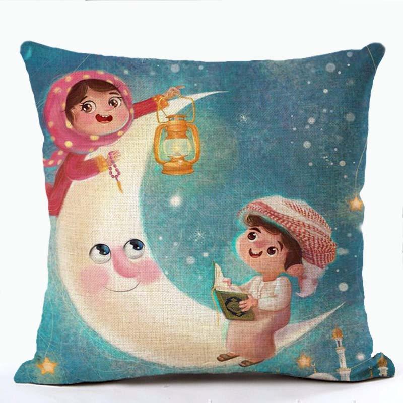 Рамадан Карим наволочка для подушки льняная хлопковая цветная наволочка для подушки замок фонарь Луна Печатный диван стул ИД Мубарак