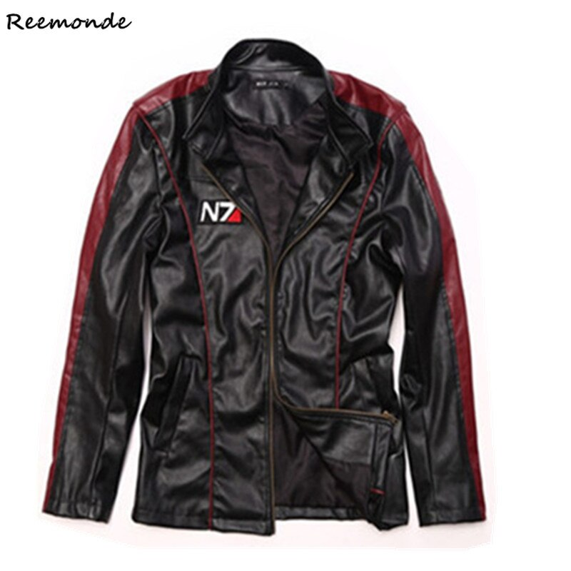 Jogo efeito de massa 3 n7 cosplay traje comandante shepard elegante zíper-up preto falso jaqueta de couro casaco hoodies masculino roupas menino
