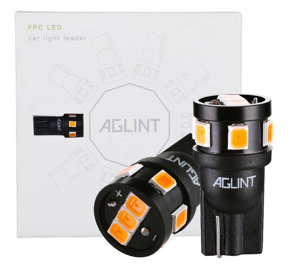 AGLINT 10 Uds Led luz de la lámpara del coche T10 194 168 w5w T10 Led Bombilla de estacionamiento Auto cuña lámpara de separación 2835 ámbar amarillo cc 12v