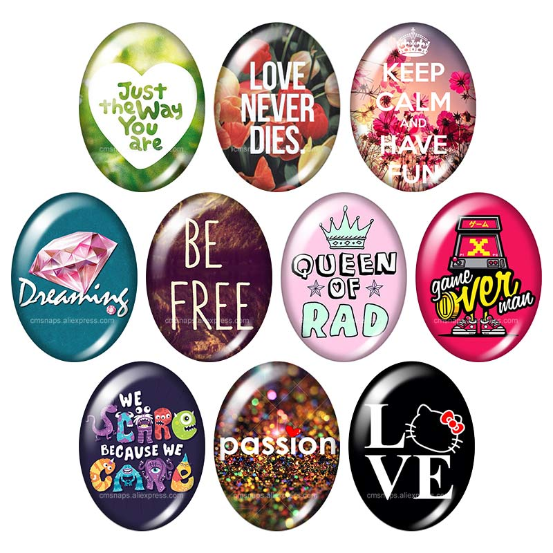 Free Love passion wrods motto 13x18mm/18x25mm/30x40mm mix Oval photo glass cabochon demo flat back Jewelry findings TB0031