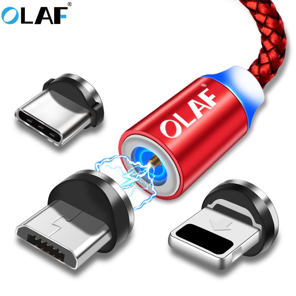 Cable Micro USB magnético de carga rápida OLAF 1m Cable USB tipo C para cable iphnoe adaptador de teléfono para Samsung para Xiaomi para Huawei