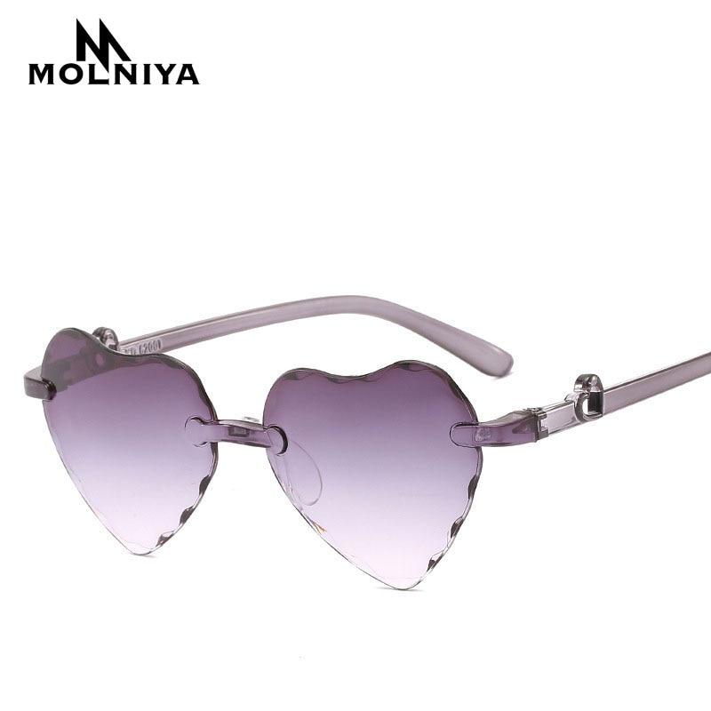 Lunettes de soleil en forme de cœur pour filles   Nouvelle collection, lunettes de soleil colorées, teinte claire, bleu, rouge, rose