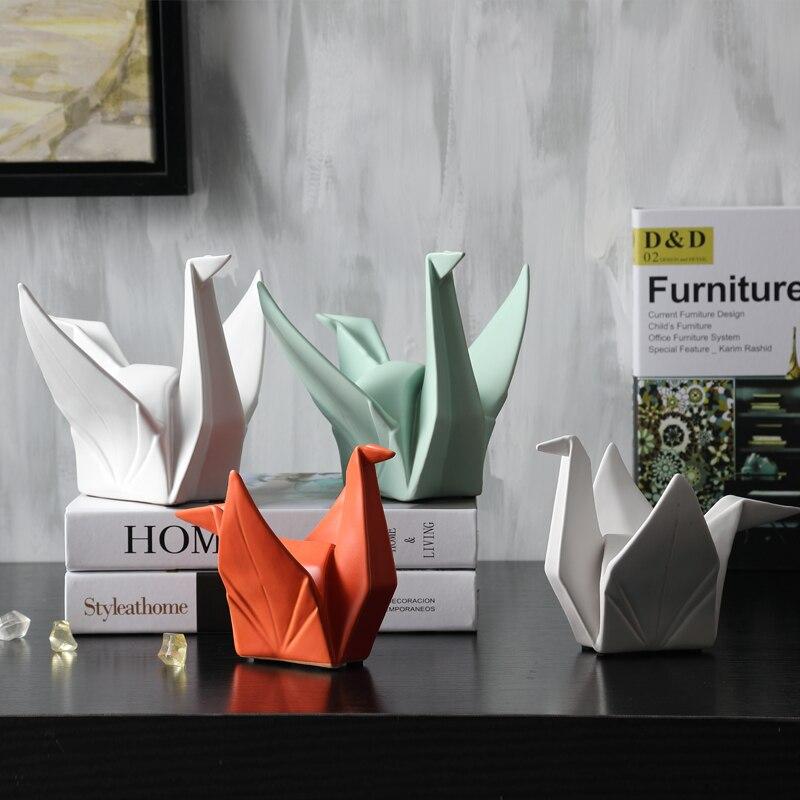 2020 новая Скандинавская креативная современная абстрактная керамическая статуя оригами статуэтка животного скульптура для украшения дома ...