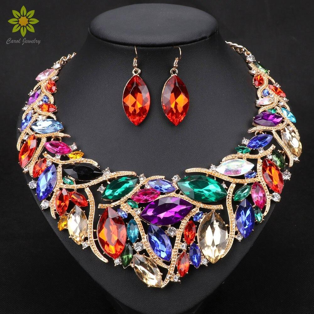 Grânulos africanos promoção jóias de casamento cor do ouro cristal colar e brincos conjuntos para mulheres conjuntos de jóias de noiva 9 cores