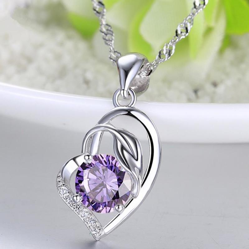 Everoyal, collar de plata de ley 925 a la moda para mujeres, joyería, abalorio, colgante de corazón de cristal púrpura, collar, accesorios para chicas, gran oferta