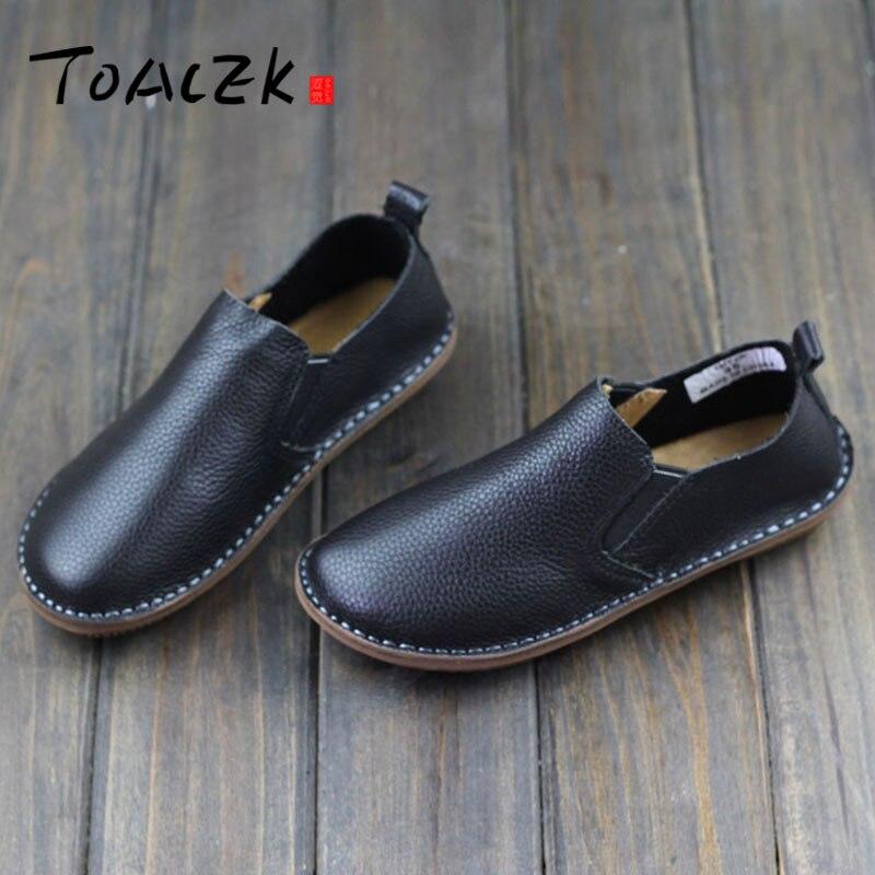 Ocio-Zapatos de Cuero genuino para mujer, Calzado de Cuero genuino transpirable, cómodo