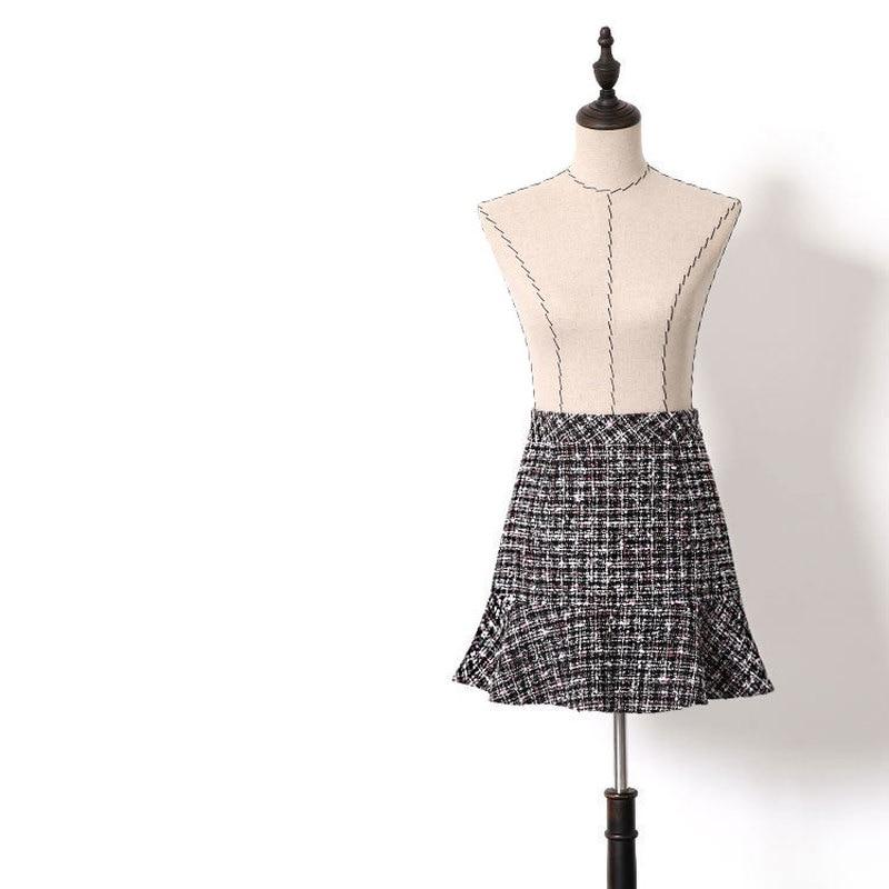 2019 Spring Autumn High Waist Short Ruffles Mermaid Skirts Women Girls Sweet Plaid Woolen Tweed Mini Skirt Y169