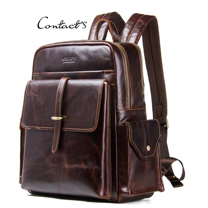 Mini Backpack Men Women Genuine Leather 14 Inch Laptop Back Pack Men's Bagpack Travel Teenager Boys Crazy Horse Hand Bag mochila