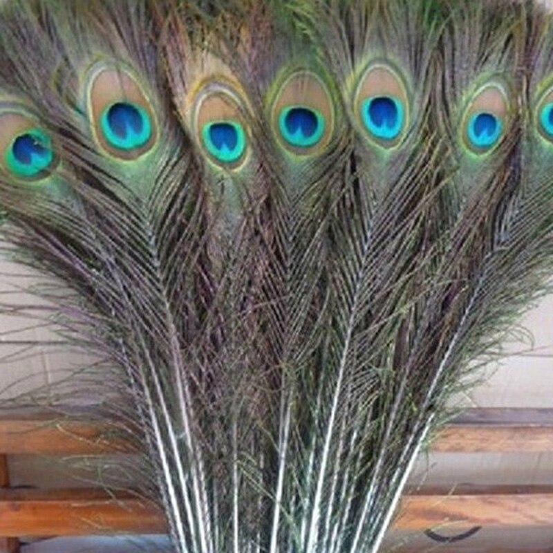 ¡Venta al por mayor! Lote de 50 Uds. De hermosas plumas naturales de pavo real de 25-30cm y 10-12 pulgadas, decoración para ropa DIY, regalos de Hatchimals