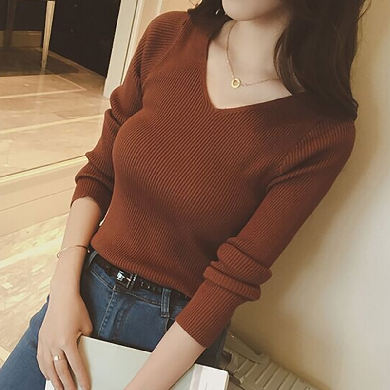 Autumn V Neck Sweater Knitted Fashion Womens Sweaters 2020 Winter Tops For Women Pullover Jumper Pull Femme Hiver Truien Dames