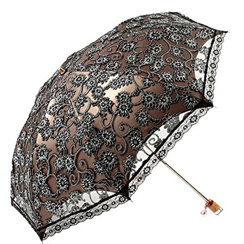 Элегантные женские кружевные зонты с вышивкой, летние зонты для девушек, солнечные и дождевые зонты, портативный зонт для женщин