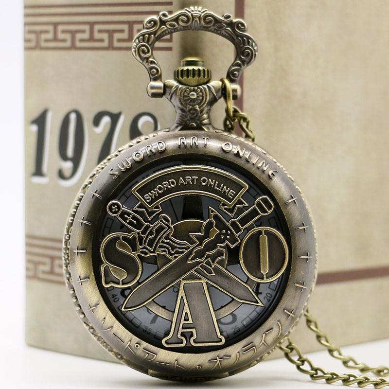 YISUYA Antique Vintage Bronze Sword Art Fine chain Analog Retro Pendant Nostalgia Quartz Pocket Watch  Necklace Women Men Gifts