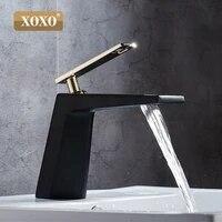 XOXO robinet de salle de bains noir blanc  robinet de salle de bains en forme creuse  robinets de cascade de bain  robinet mitigeur deau a une poignee 80015