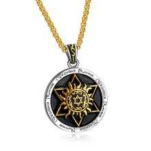 Punk Rock titanio acero estrella de David hexagrama redondo colgante collar para hombres joyería Color oro plata
