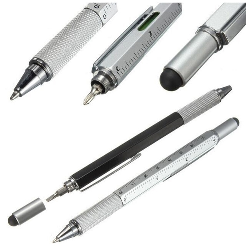 Bolígrafo multifuncional con destornillador, 1 Uds., herramienta para pantalla táctil, regla de nivel, pluma capacitiva, material de oficina, regalo de novedad, 7 colores