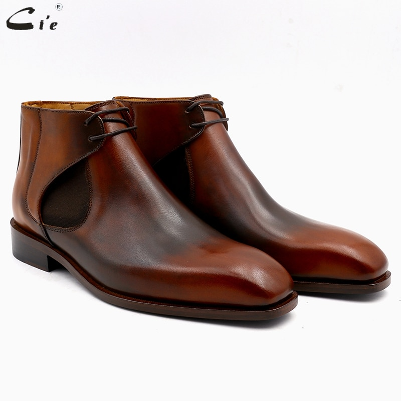 Cie-حذاء بوت جلد أصلي للرجال ، حذاء بمقدمة مربعة ، جلد بني ، جلد ، صناعة يدوية ، جلد تشيلسي ، scarpeA05