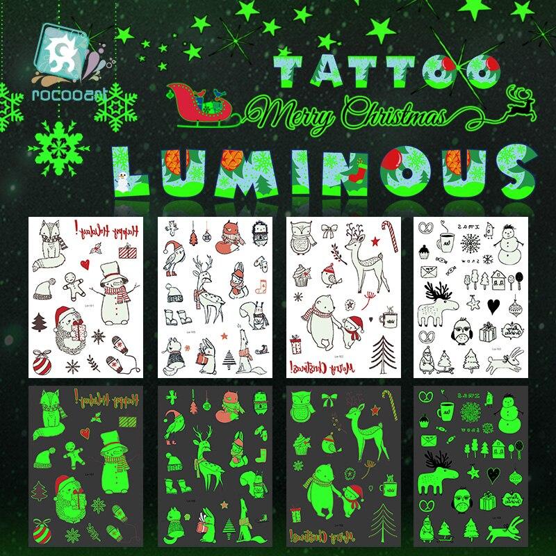 Gran oferta, tatuaje arte corporal luminoso, serie navideña que brilla en la oscuridad, animales Yeti, ardilla, jirafa, cuerpo falso temporal para chico