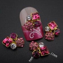 10 pièces Strass Strass paillettes carré or 3d ongles bijoux décoration ongles art YNS24