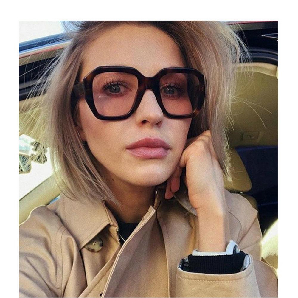 MINCL gafas de sol Vintage de gran tamaño de leopardo para mujer, marca de diseñador, marco cuadrado de concha de tortuga, gafas de sol Retro para mujer, tonos NX