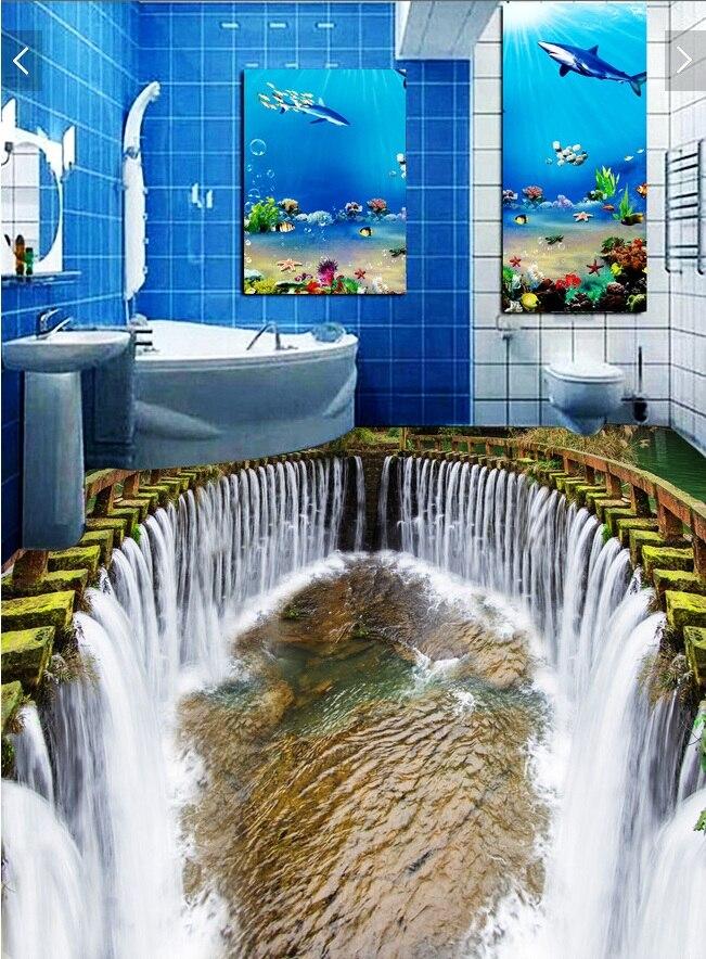 3 d de suelo de pvc de pared personalizado etiqueta engomada de papel de la cascada de agua 3d Suelo de baño pinturas foto 3d mural de la pared de papel