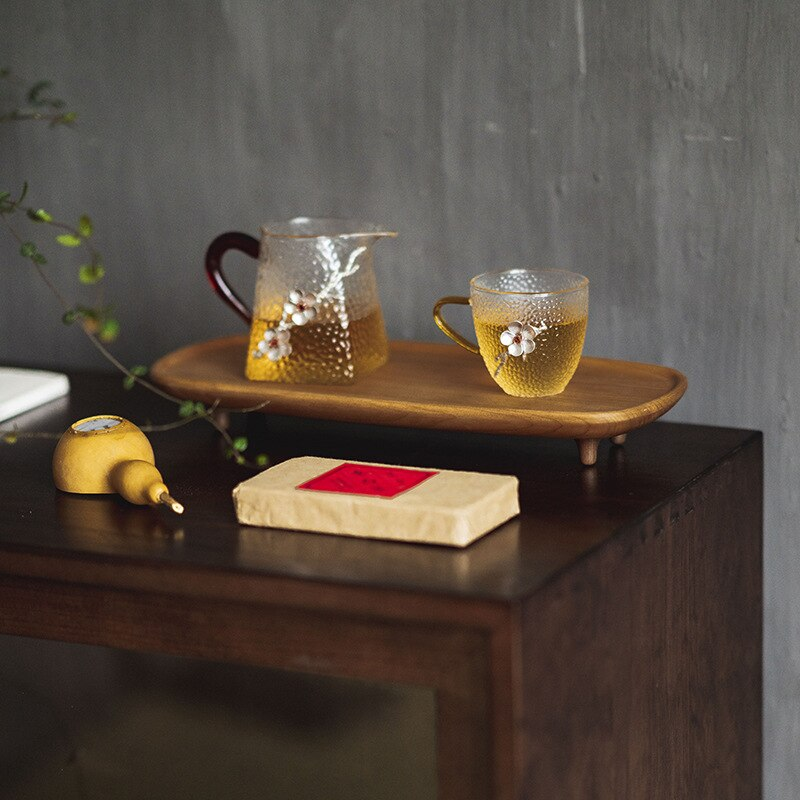 Taza de té de estilo japonés resistente al calor taza de agua de vidrio grande con mango